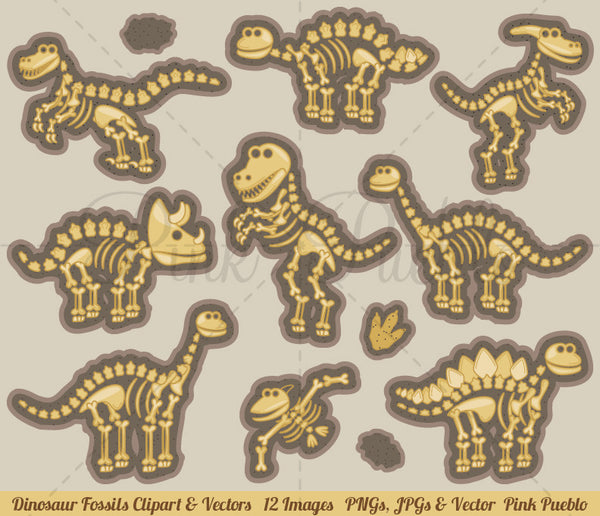 Dinosaur Bones Clipart and Vectors - PinkPueblo