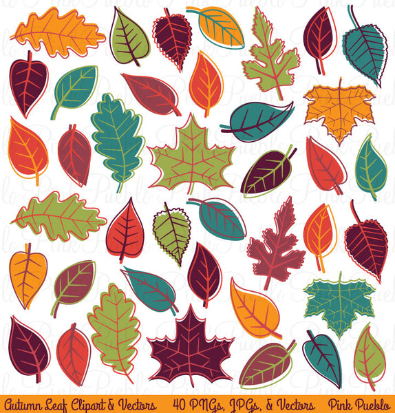 Autumn Leaves Clipart & Vectors - PinkPueblo