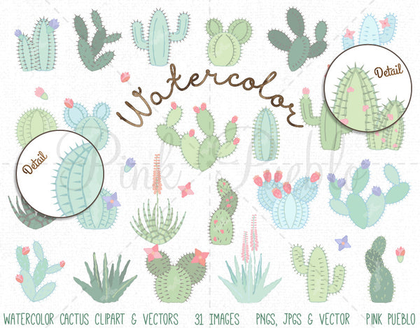 Watercolor Cactus Clipart and Vectors - PinkPueblo