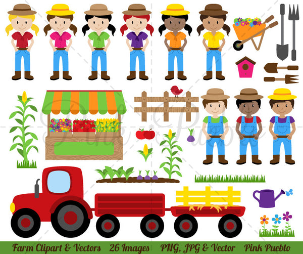 Farm and Farmer Clipart & Vectors - PinkPueblo