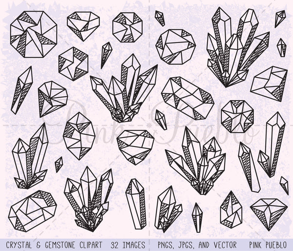 Crystal and Gemstone Clipart and Vectors - PinkPueblo