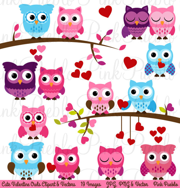 Valentine's Day Owl Clipart & Vectors