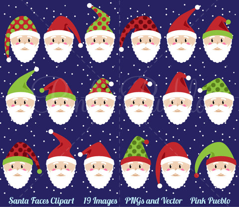 Santa Claus Faces Clipart and Vectors - PinkPueblo