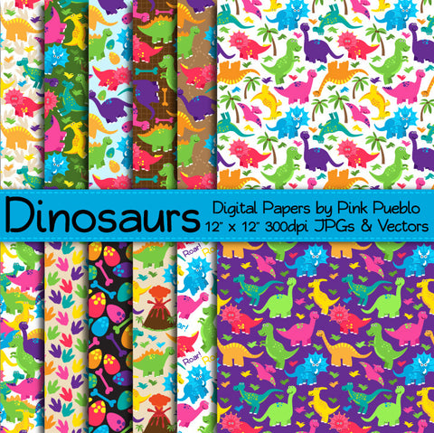 Cute Dinosaur Patterns and Papers - PinkPueblo