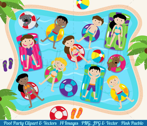 Pool Party Clipart and Vectors - PinkPueblo