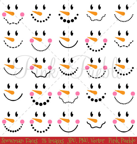 Snowman Faces Clipart & Vectors - PinkPueblo