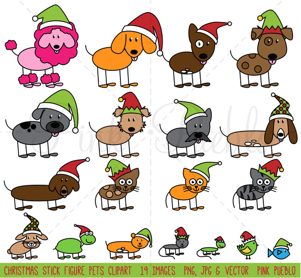 Christmas Stick Figure Pets Clipart and Vectors