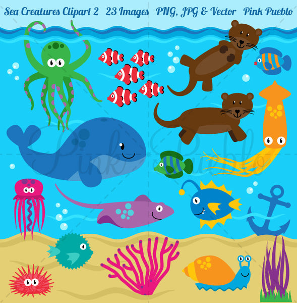 Sea Animals Clipart and Vectors