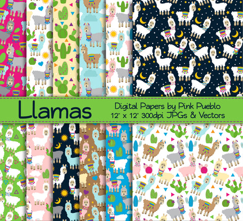 Llama Patterns or Backgrounds - PinkPueblo