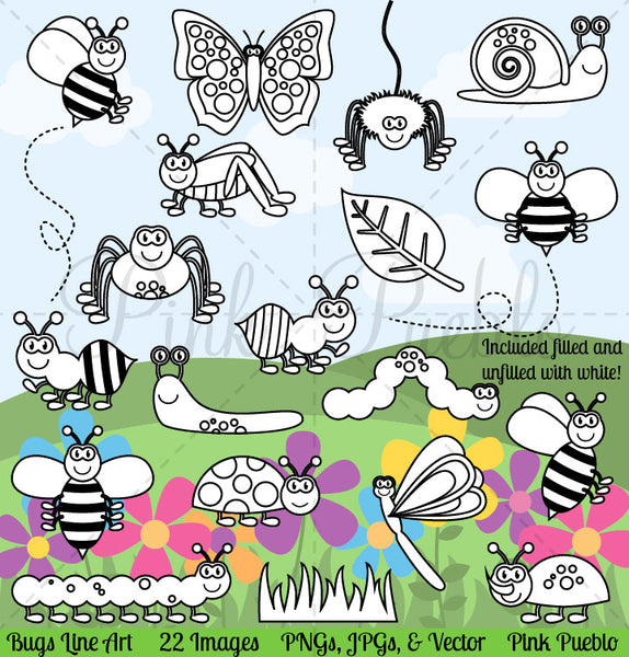 Bug Digital Stamps, Clipart & Vectors - PinkPueblo