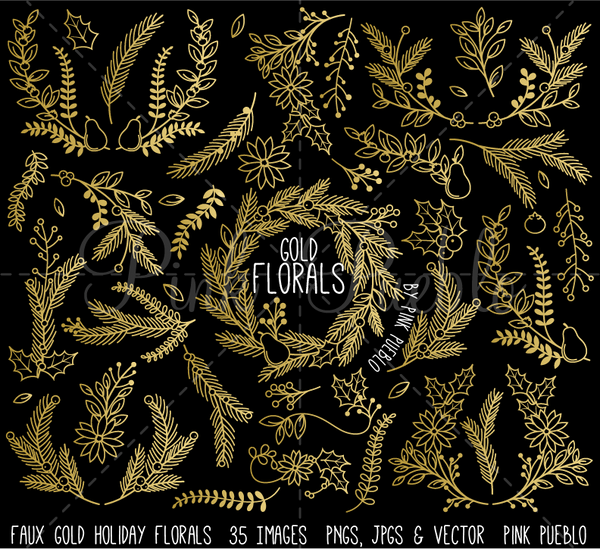 Faux Gold Foil Christmas Floral Clipart and Vectors