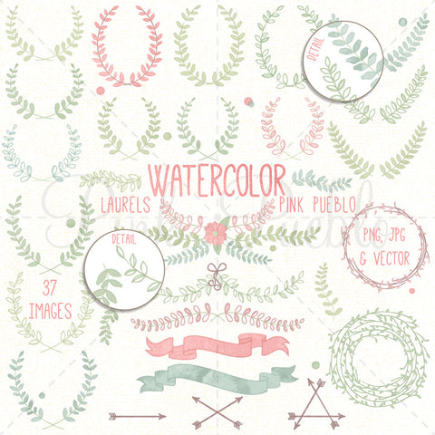 Watercolor Laurel Clipart - PinkPueblo