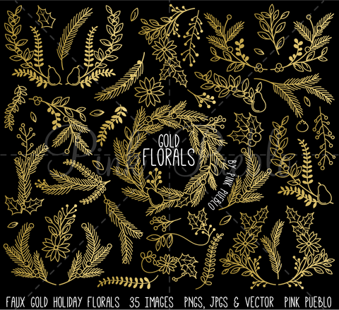 Faux Gold Foil Christmas Floral Clipart and Vectors - PinkPueblo