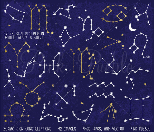 Zodiac Sign Constellations Clipart and Vectors