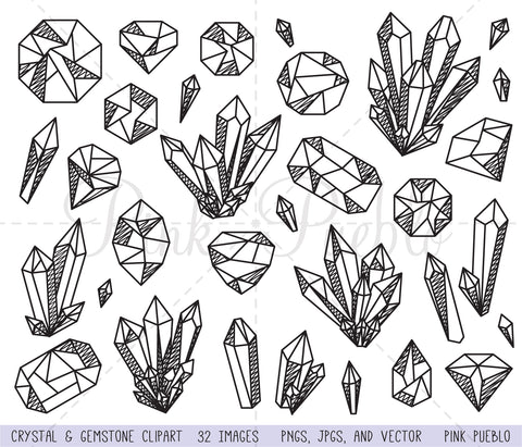Crystal and Gemstone Clipart and Vectors