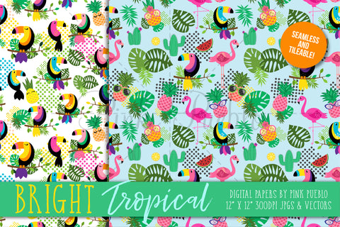 Tropical Patterns and Digital Papers - PinkPueblo