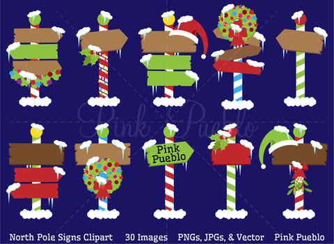 North Pole Or Santa's Workshop Signs Clipart and Vectors - PinkPueblo