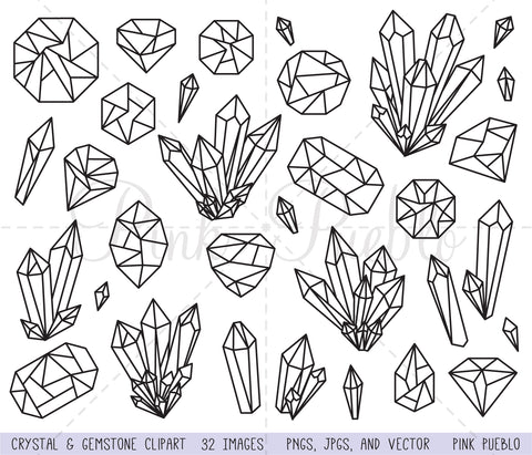Crystal & Gemstone Clipart and Vectors - PinkPueblo