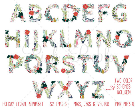 Christmas Floral Alphabet Clipart and Vectors