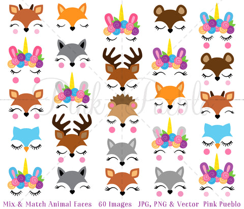 Mix and Match Animal Face Clipart, Unicorn Clipart, Forest and Woodland Animal Clipart - PinkPueblo