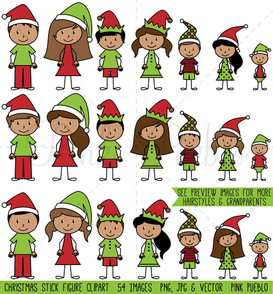Christmas Stick Figure Family Clipart - PinkPueblo