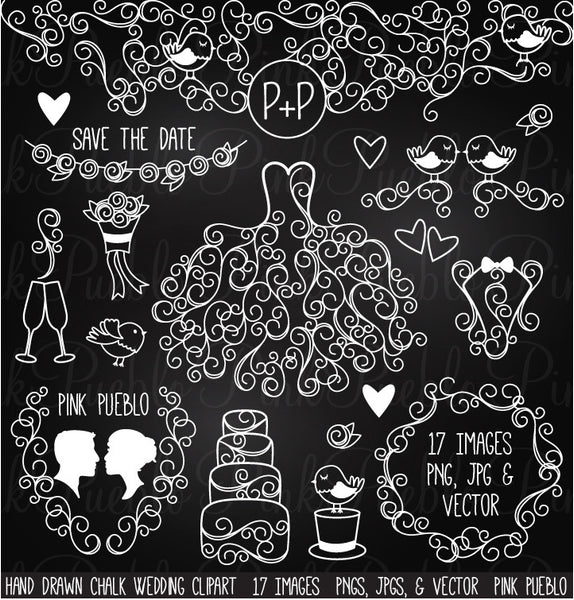 Hand Drawn Chalkboard Wedding Clipart - PinkPueblo