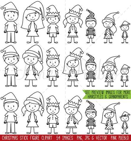 Christmas Stick Figure Clipart and Digital Stamps - PinkPueblo