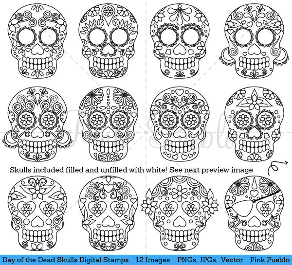 Day of the Dead Skull Digital Stamps - PinkPueblo