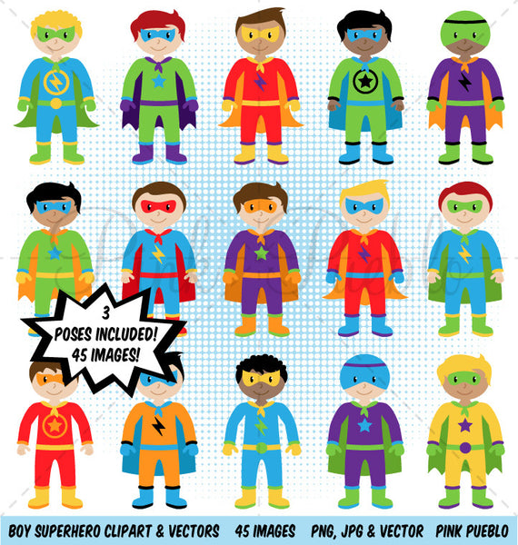 Boy Superhero Clipart & Vectors - PinkPueblo