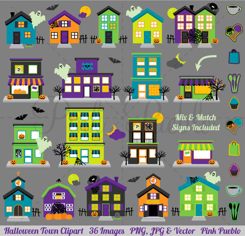 Halloween Village Clipart with Mix and Match Signs - PinkPueblo