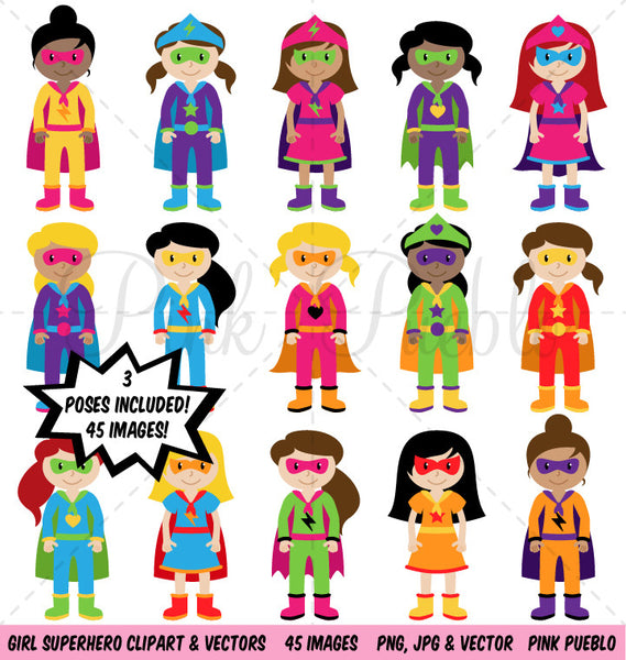 Girl Superhero Clipart & Vectors