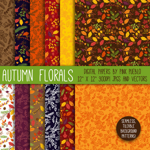 Autumn or Thanksgiving Flowers Digital Scrapbook Paper