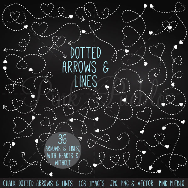 Chalkboard Dotted Arrows & Lines Clipart and Vectors