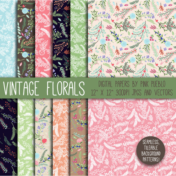 Vintage Floral Papers and Backgrounds - PinkPueblo