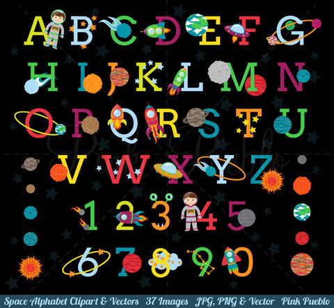 Space Alphabet Clipart & Vectors