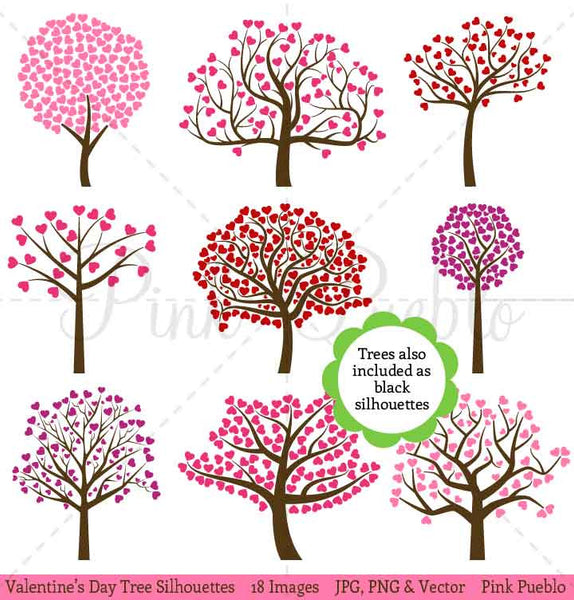 Valentine's Day Tree Silhouettes Clipart and Vectors