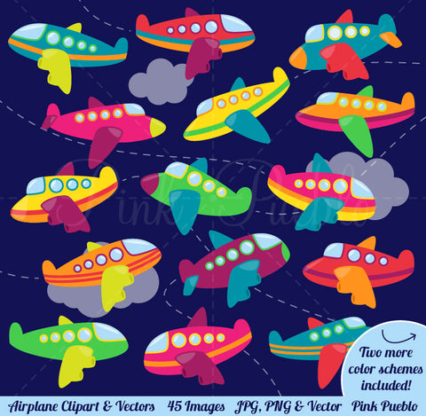 Airplane Clipart and Vectors - PinkPueblo