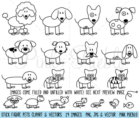 Stick Figure Pets Clipart and Vectors - PinkPueblo