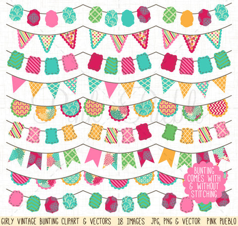 Girly Bunting Clip Art & Vectors - PinkPueblo