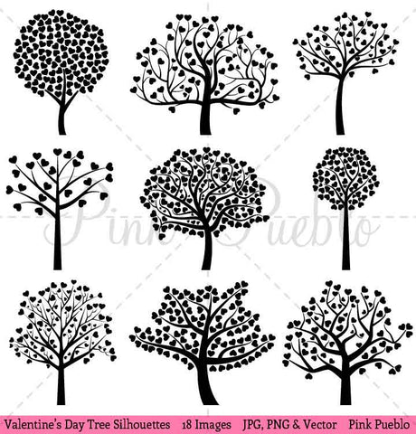 Valentine's Day Tree Silhouettes Clipart and Vectors - PinkPueblo
