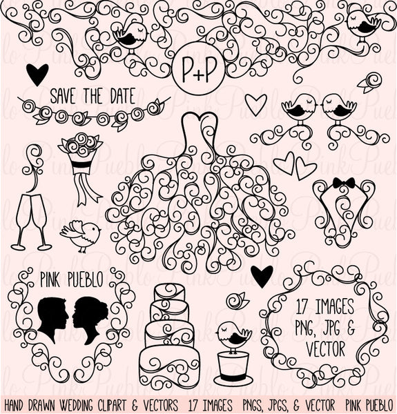 Hand Drawn Wedding Clipart & Vectors - PinkPueblo