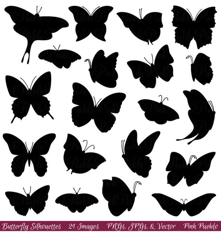 Butterfly Silhouette Clipart and Vectors