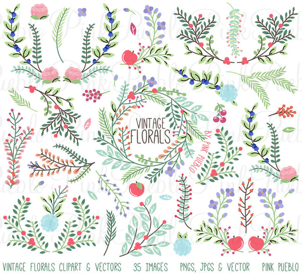Vintage Floral Clipart and Vectors - PinkPueblo
