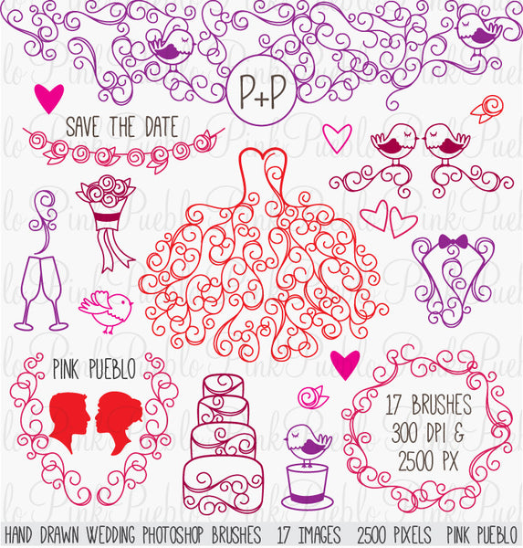 Hand Drawn Wedding Photoshop Brushes - PinkPueblo