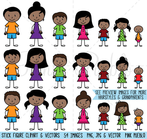 African American Stick Figure Family Clipart