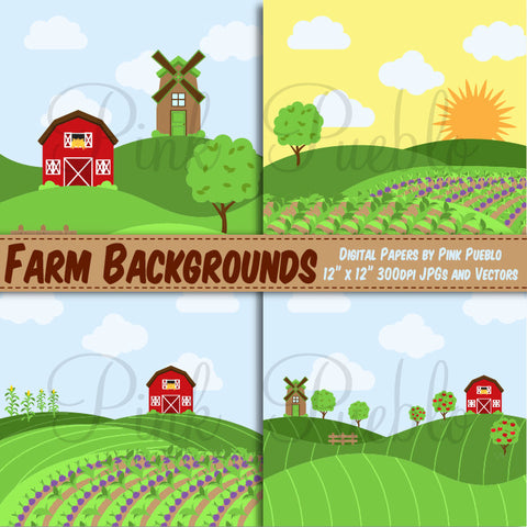 Farm Digital Paper or Backgrounds - PinkPueblo
