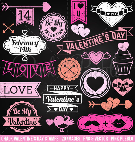 Chalkboard Valentine's Day Stamps Clipart and Vectors