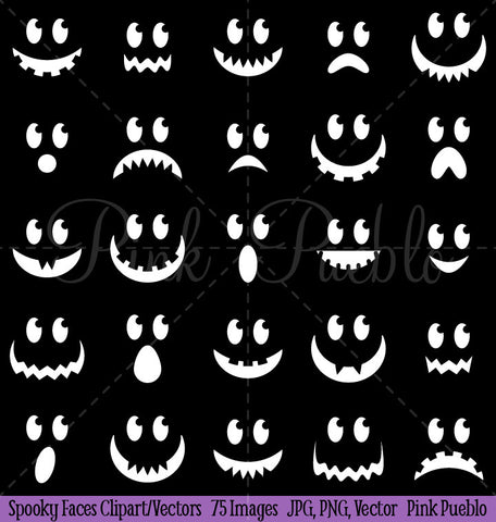 Halloween Ghost or Pumpking Faces Clipart & Vectors - PinkPueblo