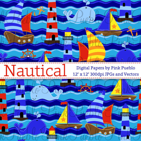 Seamless Nautical Patterns or Papers - PinkPueblo