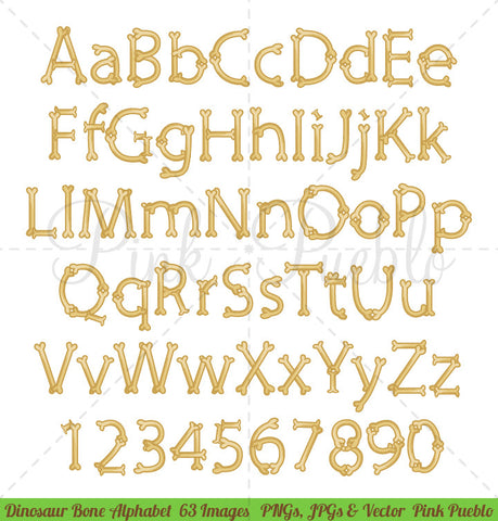 Dinosaur Bone Alphabet Clipart and Vectors